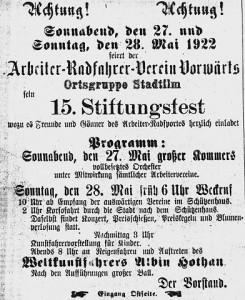 """Bild 5: Ankündigung 15. Stiftungsfest """"Vorwärts"""""""